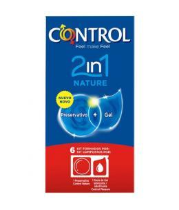 PRESERVATIVOS CONTROL 2IN1 NATURE + LUBE NATURE 6UDS - Imagen 1